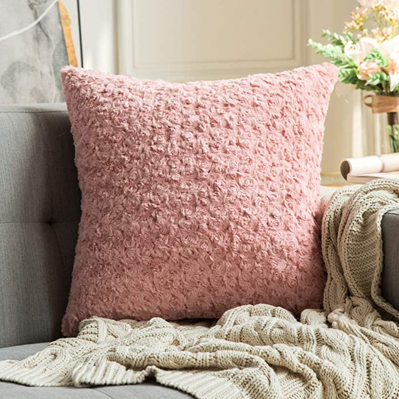 MIULEE Decorative Throw Pillow Covers Luxury Faux Fuzzy Fur Soft Cushion Pillow Case Decor Rose Pink Cases for Couch Sofa Bedroom Car 18 x 18 Inch 45 x 45 cm