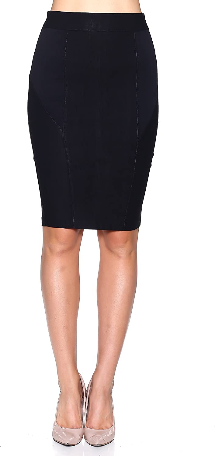 Rokoko Women's Stretchy Midi Pencil Work Skirt