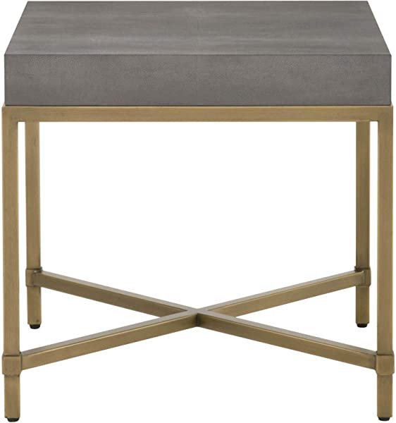 Star International Furniture Strand Shagreen End Table In Gray Shagreen And Brushed Gold