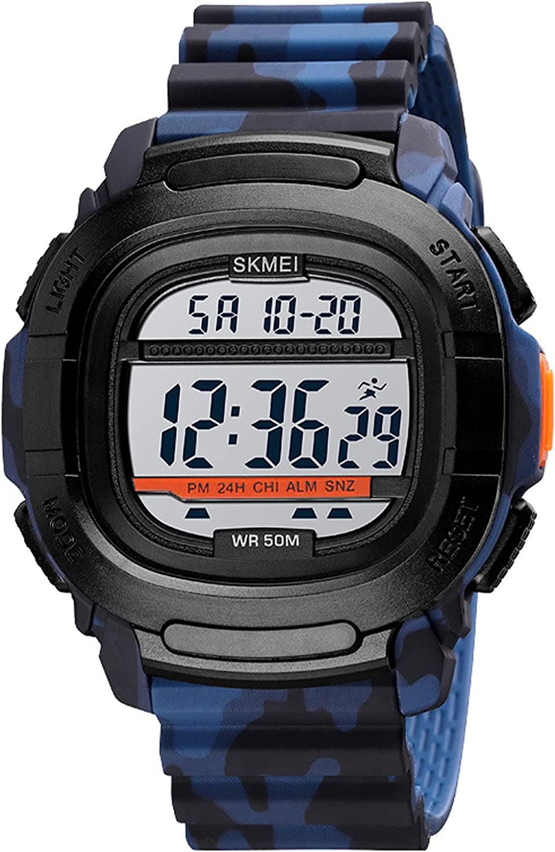 Relojes Digital Hombre, Deportivos Militares Relojes de Pulsera con Calendario LED Alarma Cronómetro Resistente al Agua 50M Reloj Cuadrado para Hombre