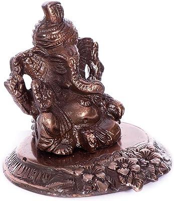 eCraftIndia Pagdi Lord Ganesha on Flower Metal Figurine (10 cm x 9 cm x 9 cm, Brown)