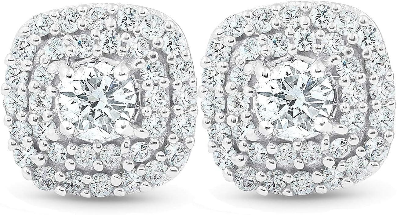 1 2 Ct TDW Max 88% OFF Genuine Diamond Cushion Studs Halo Gold 10k 3 Max 61% OFF White