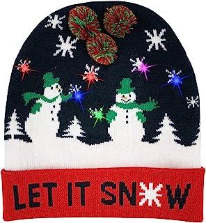 W-plus Ugly LED Christmas Hat Novelty Colorful Light-up Stylish Knitted  Sweater Xmas b71ebf7d4de8