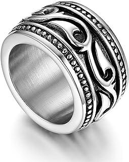 Anillo de Compromiso para Hombre, Anillo de Sello Grande Celta Celtico Anillo Irlandés Vikingos, Amuleto Anillo de Acero Inoxidable, Talla Grande