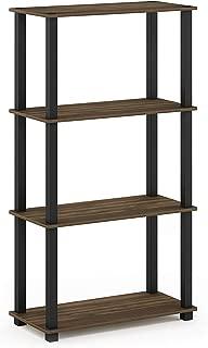 Furinno Turn-S-Tube 4-Tier Multipurpose Shelf Display Rack, Square, Columbia Walnut/Black