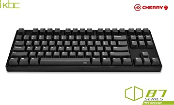 iKBC CD87 Mechanical Keyboard with Cherry MX Blue Switch for Windows and Mac, Tenkeyless Wired Computer Keyboards with PBT OEM Profile Keycaps for Desktop and Laptop, 87-Key, Black Color, ANSI/US