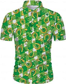 Men St. Patrick's Day Shirt Irish Shamrock Printed Short Sleeve Hawaiian Shirt Button Down Aloha Shirts Green