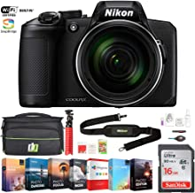 Nikon COOLPIX B600 16MP 60x Optical Zoom Digital Camera with Built-in Wi-Fi Black Bundle with Photo and Video Professional Editing Suite, Bag for DSLR, 16GB Memory Card