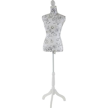 Mannequin de Couture de Tailleur Buste Torse féminin T222 - Fibre de Verre, Motif Blanc à Fleurs