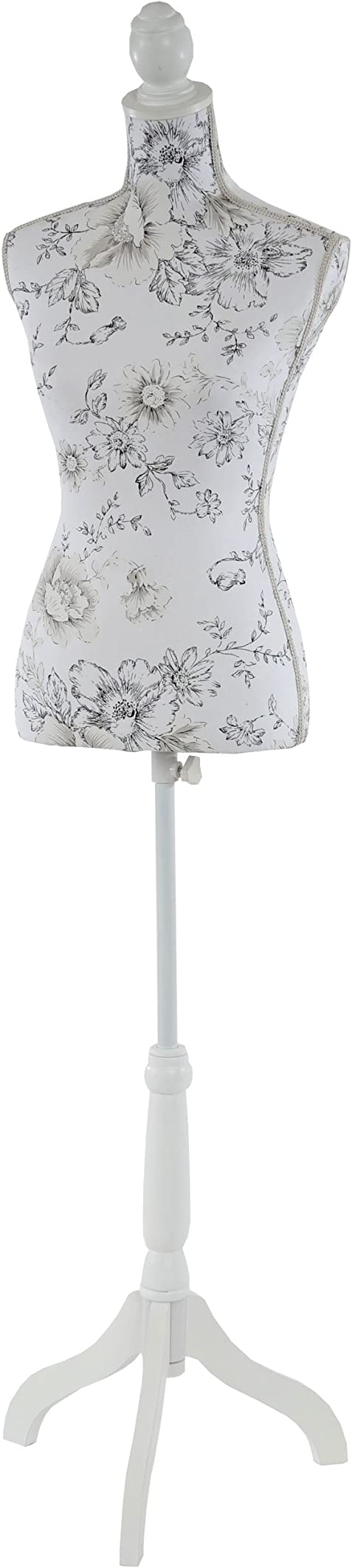 Manichino sartoriale busto donna t222 fibre di vetro con treppiede ~ bianco con fiori 35630