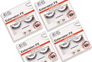 Ardell Extension FX C Curl False Eye Lashes to Elongate & Widen Eyes, 4 pack