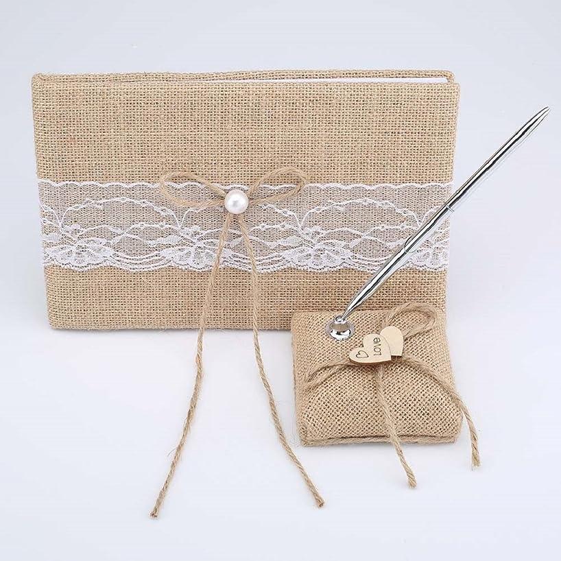 2Pcs/set White/Ivory/Burlap Wedding Guest Book + Pen Set (Burlap)