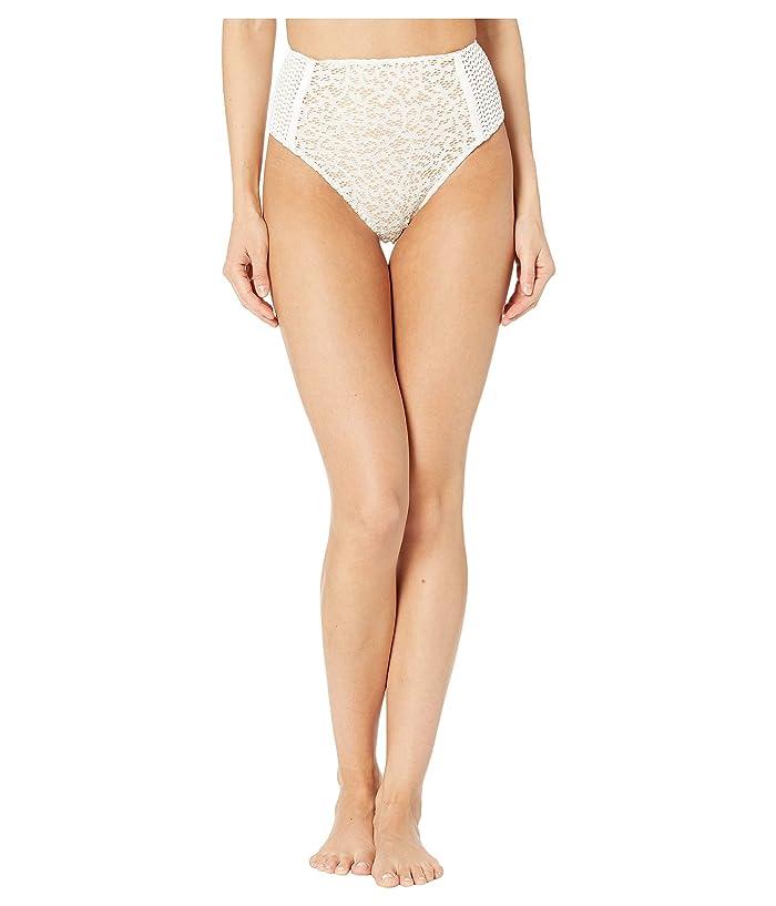 Jonathan Simkhai Lace Combo High-Waisted Bikini Bottoms (White) Women