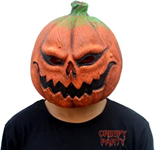 CreepyParty Deluxe Novelty Halloween Costume Party Props Latex Pumpkin Head Mask (Pumpkin) Orange
