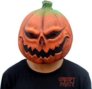 CreepyParty Deluxe Novelty Halloween Costume Party Props Latex Pumpkin Head Mask (Pumpkin)