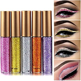 Coosa Glitter Liquid Eyeliner 5PCS Long Lasting Waterproof Sparkling Eyeliner Eye Shadow Pen (5PCS-1)