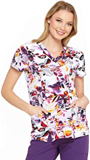 Fashion Prints by Dickies Women's V-Neck Print Scrub Top