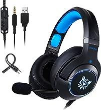 Gaming Headset-ONIKUMA Surround Sound PS4 Headphones Retractable Mic Works Xbox One PC,RGB LED & Lightweight Soft Earmuffs & Volume Control(Blue)