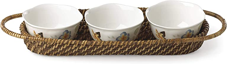 Lenox 881047 Butterfly Meadow Rattan Hors D'oeuvres Holder with 3 Bowls