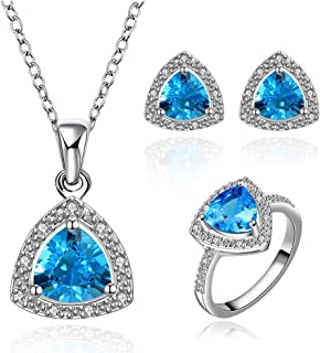NYKKOLA in argento Sterling 925 placcato monili blu oceano Crystal Love damigella d' onore set