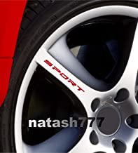 Sport Decal Sticker Wheels Rims Racing Car Sticker Emblem 4 PCS (RED)