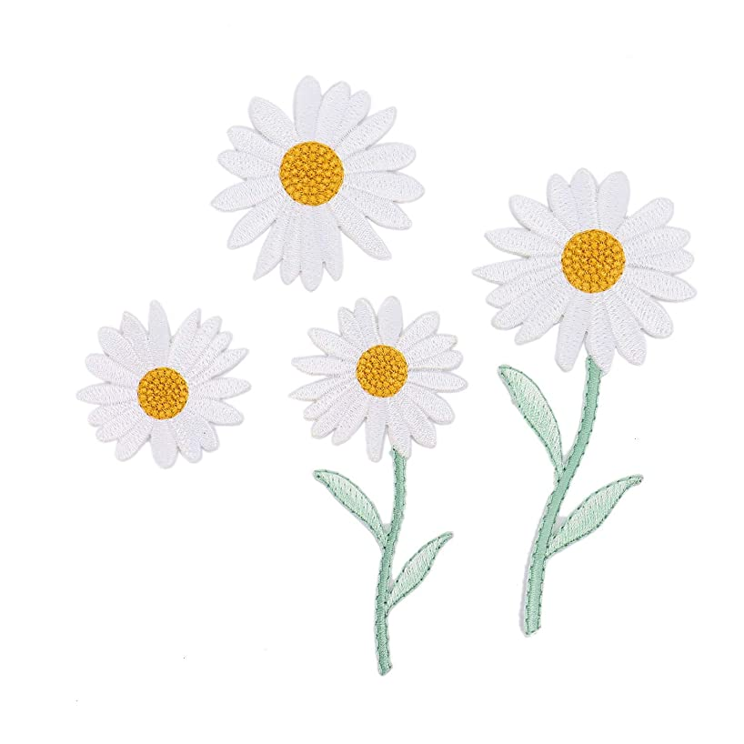 Monrocco 4 Pcs Embroidered Patches White Daisy Delicate Iron On Patches Sew On Applique Patch for Clothing Jacket Cotton Jeans Craft Decoration