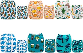 ALVABABY Cloth Diaper, One Size Adjustable Washable Reusable for Baby Girls and Boys 6 Pack with 12 Inserts 6DM45