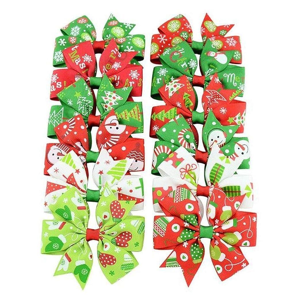 光センブランス縫うHPYOD HOME 蝶ネクタイ女の赤ちゃんかわいいヘアピンクリスマスレインボーカラーリボンクリスマスプレゼント(ランダムカラー)12PCS