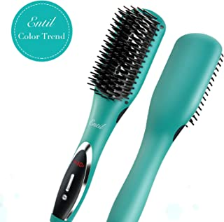 Hair Straightener Brush Straightening Brush Ceramic Iron Negative Ions Electric Dual Voltage Auto Shut Off Temperature Control Anti-Scald Fast Heating for Women with Thick Hair