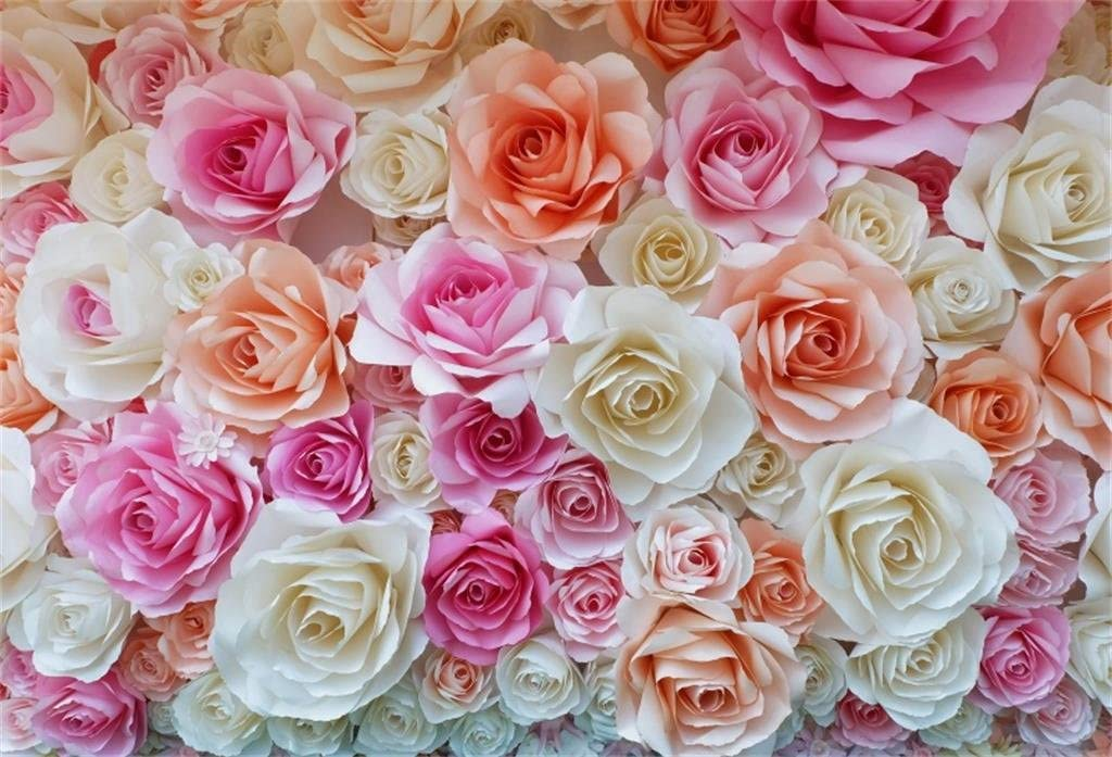 ALUONI 5x3ft Geometric,Soft Background and Floral Arrangement Blooming Nature Party Backdrop Photography Background Baby Adult Abstract Banner Cake Table Decoration Photo Booth AM015710