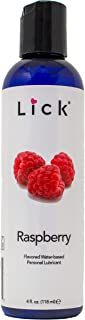 Lick Raspberry Flavored Lube Water-Based for Sex, 4 oz - Edible Lubricant for Sex with All Natural Organic Ingredients - Safe Use with Condoms and Toys…