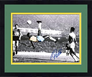 """Framed Pele Brazil Autographed 11"""" x 14"""" Spotlight Bicycle Kick Photograph Signed in Blue - Fanatics Authentic Certified"""