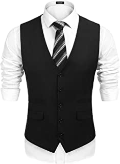 COOFANDY Men`s Business Suit Vest,Slim Fit Skinny Wedding Waistcoat