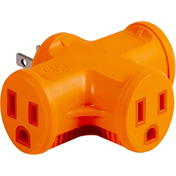 GE Outlet T-Shaped Adapter, 3-Prong Power Extender, Grounded Wall Tap, Heavy Duty, UL Listed, Orange, 50281, 1 Pack