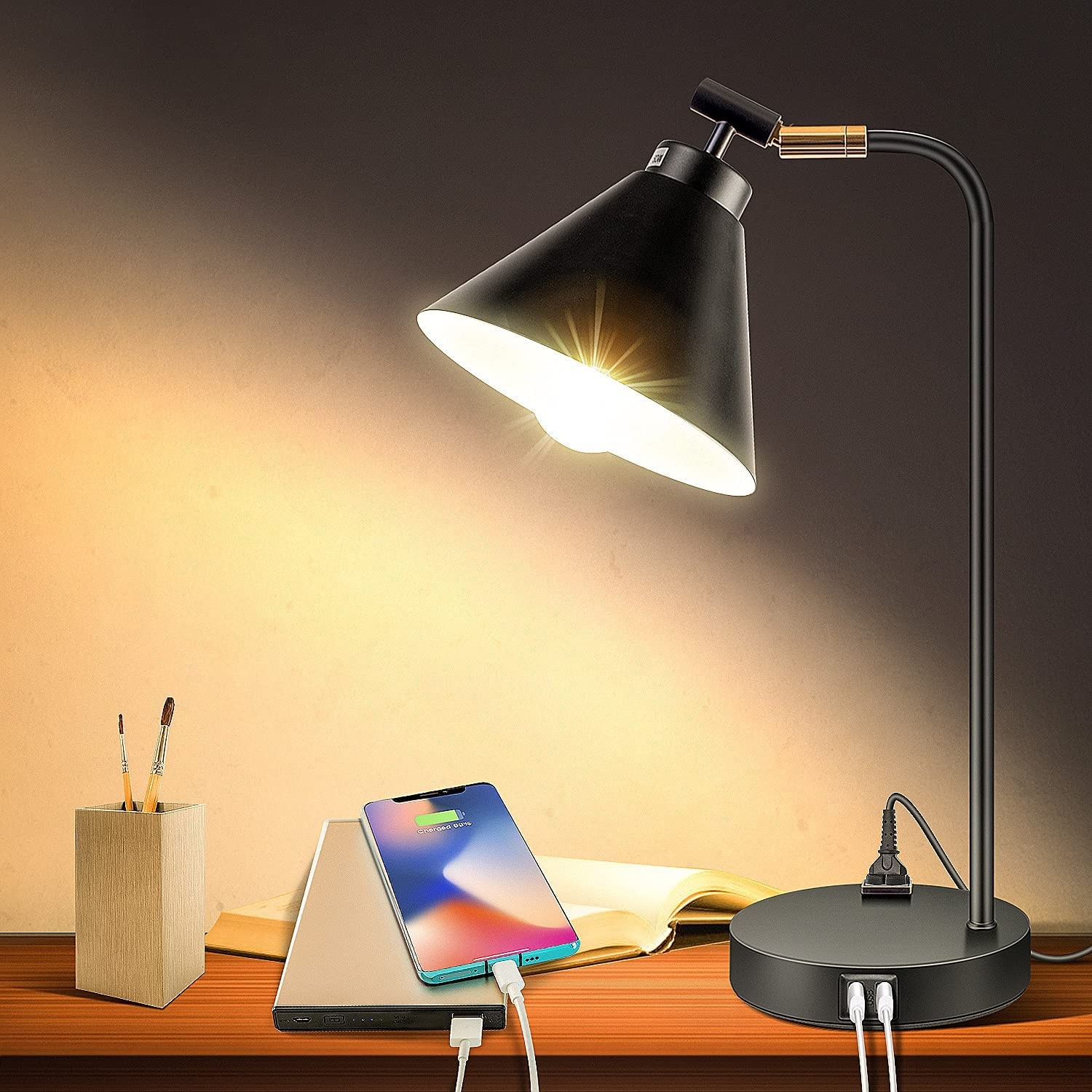 XZN Max 82% OFF 25% OFF Industrial Touch Control Desk Lamp USB Out Ports with AC 2
