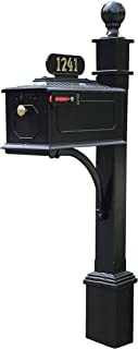 ADDRESSES OF DISTINCTION Williamsburg Estate Mailbox & Post System – Black Rust Resistant Aluminum Mailbox – Includes Address Plate, Numbers, Mounting Hardware, Ball Finial (Estate - Black)