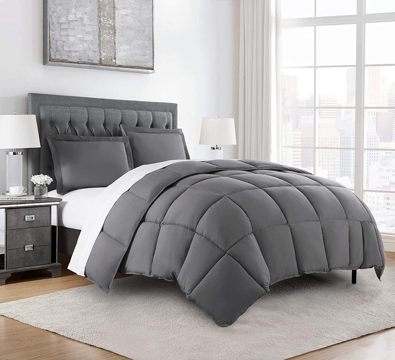 Chezmoi Collection 3-Piece Down Alternative Comforter Set (Queen, Gray