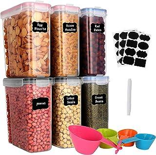 GoMaihe 4L Boite de Rangement Cuisine Lot de 6, Bocaux Hermetiques Alimentaires en Plastique Scellée avec Couvercle, pour ...