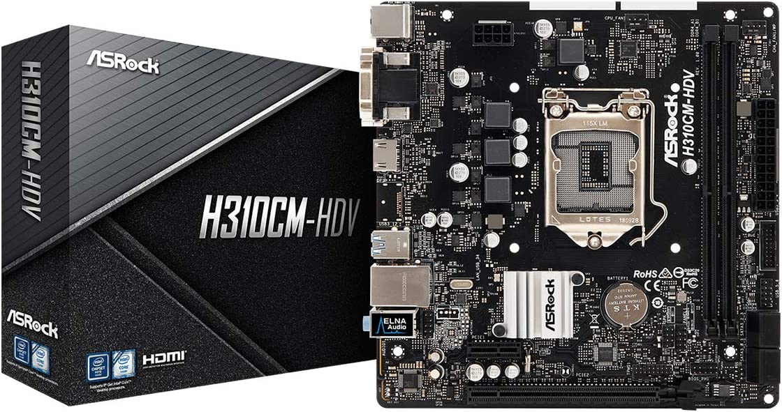 Asrock H310CM-HDV - Placa Base (Intel, LGA 1151 (Zócalo H4), Intel Celeron, Intel Core i3, Intel Core i5, Intel Core i7, Intel Core i9, Intel Pentium, DDR4-SDRAM, DIMM, 2133,2400,2666 MHz)