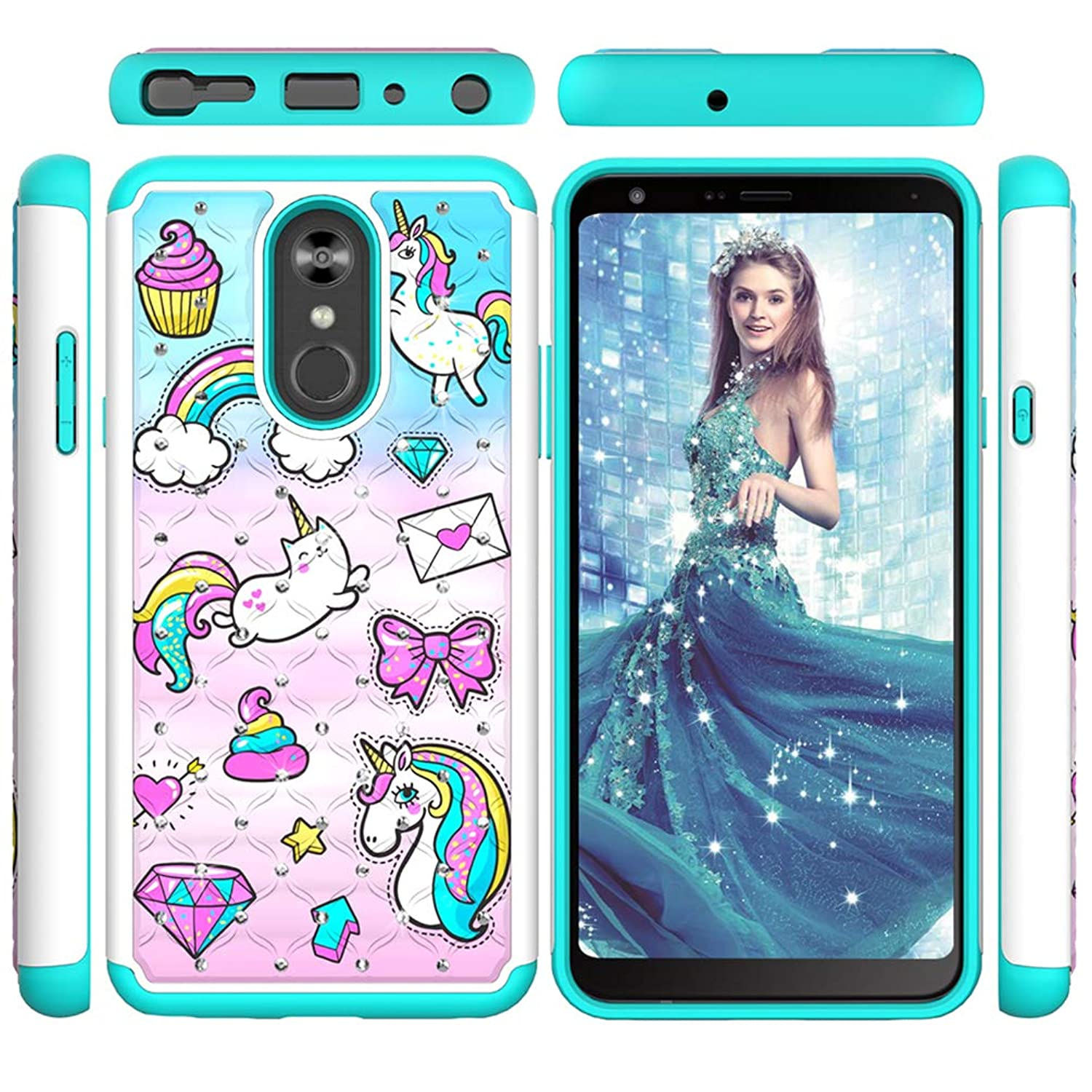 LG Stylo 4 Case, LG Q Stylus Hybrid Rugged Heavy Duty Shock Absorption?Drop?Resistant Armor Dual Layers Shockproof Soft TPU Bumper PC Shell Bling Shiny Glitter Diamonds Painting Cover for LG Stylo 4