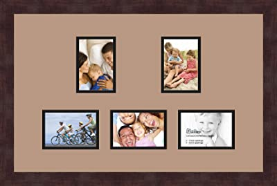 Art to Frames Double-Multimat-994-782//89-FRBW26079 Collage Photo Frame Double Mat with 5-3x5 Openings and Satin Black Frame