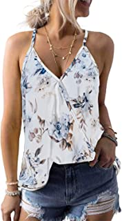 AlvaQ Women Summer Sleeveless V Neck Boho Floral Printed Tank Tops S-XXL