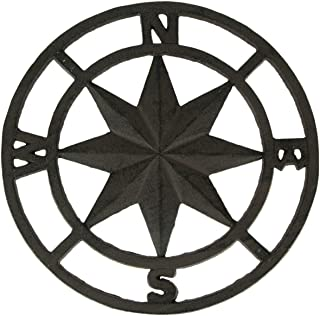 Chesapeake Bay Brown Cast Iron Nautical Compass Rose Indoor/Outdoor Wall Hanging