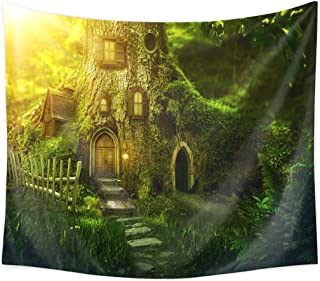 QCWN Fairy Tale Forest Tapestry Fantasy Style Forest Tree House Wall Hanging Home Decoration for Bedroom and Living Room(15, 78Wx59L)