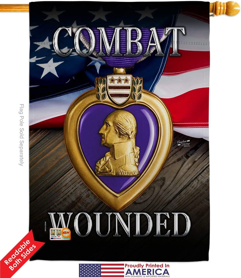 Angeleno Heritage H137133 P3 Purple Heart Combat Wounded Americana Military Impressions Decorative Vertical 28 X 40 House Flag Garden Outdoor Amazon Com