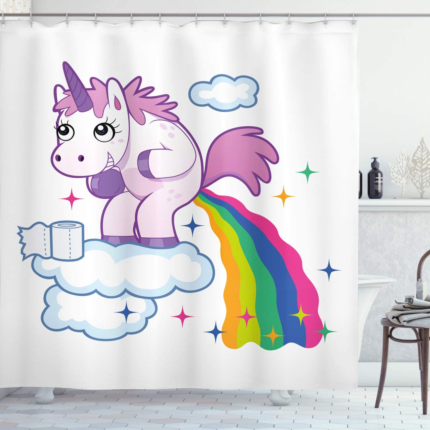 Amazon Com Ambesonne Funny Shower Curtain Unicorn Pooping Rainbow Over Clouds Creative Kids Girls Fairy Tale Fantasy Cartoon Cloth Fabric Bathroom Decor Set With Hooks 70 Long Pale Purple Home Kitchen