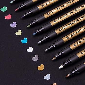 AKARUED メタリックマーカーペン 水性 カラーペン 10色セット DIY サプライズボックス 筆記用具 サインペン アルバム 手作り 手帳ページ 母の日プレゼント ギフトカードや年賀状、ガラス、木材、陶芸などの表面に適用します。