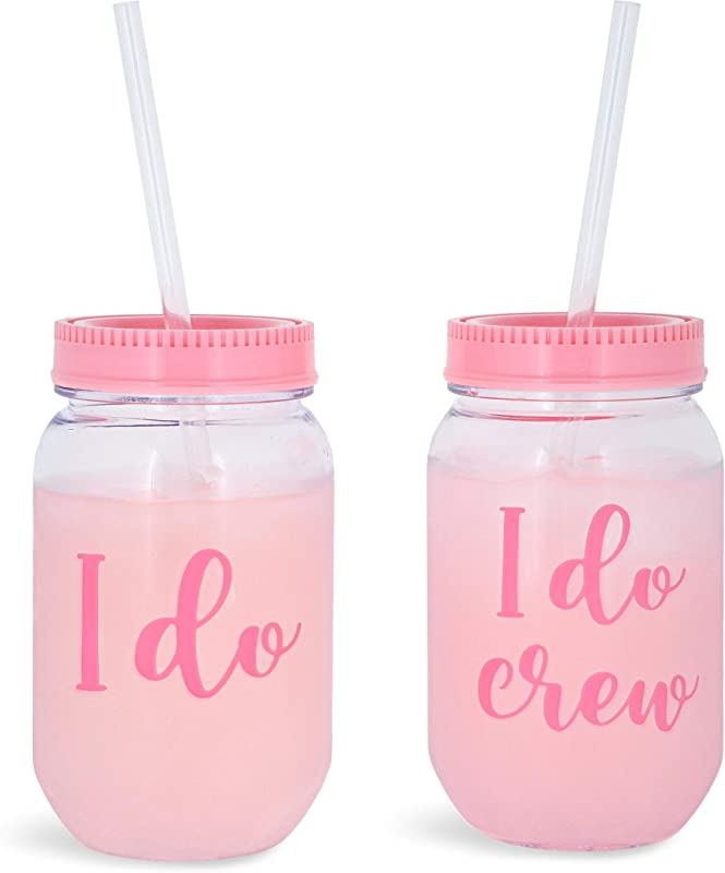 I Do Crew Plastic Mason Jar For Bachelorette Party And Bridal Shower 11 1
