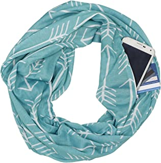 Pop Fashion Womens Arrow Pattern Infinity Scarf Wrap Scarf with White Zipper Pocket, Infinity Scarves, Travel Scarf
