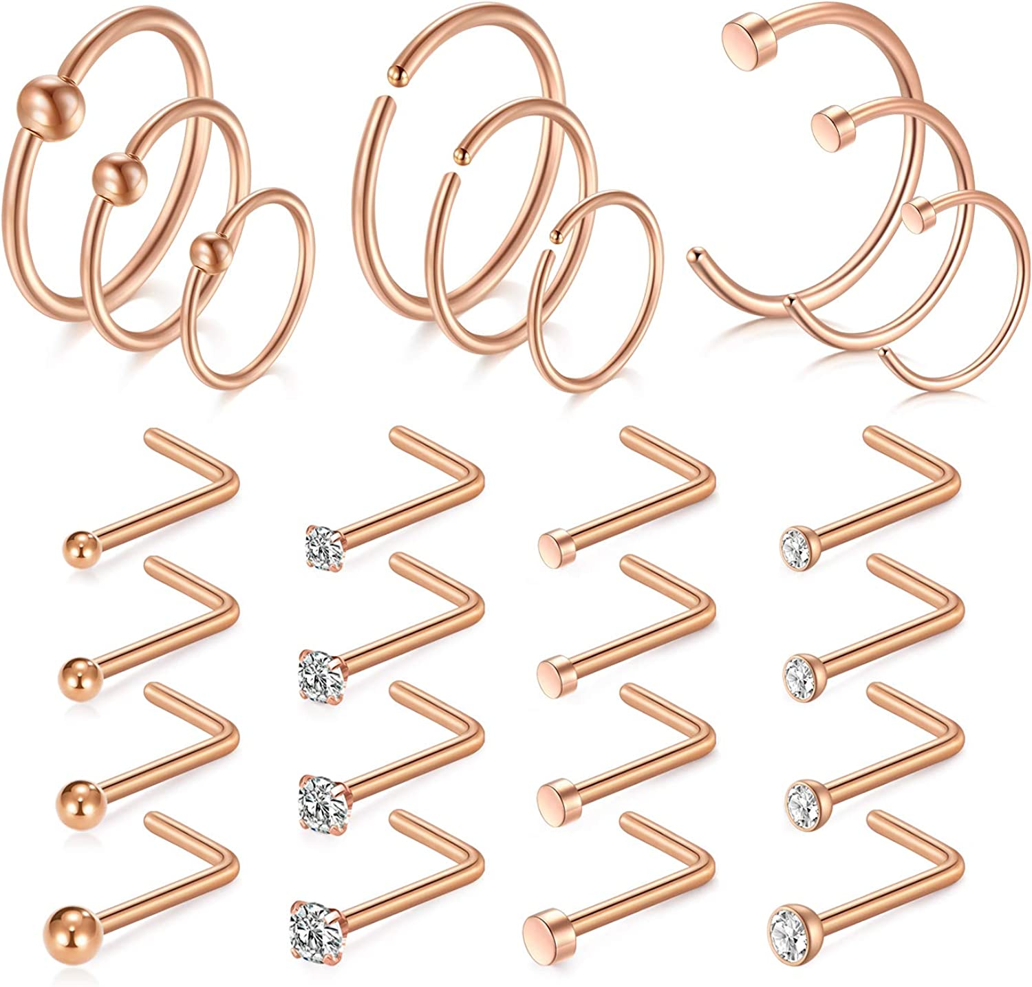 Incaton 25pcs 18G Nose Rings Ho Steel Stainless Albuquerque New product!! Mall Studs